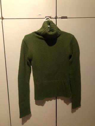 Jersey lana de cuello vuelto color verde manzana