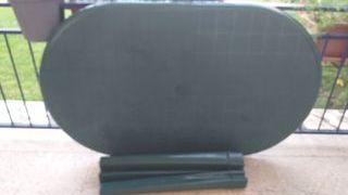 Mesa plastico verde. 140x84