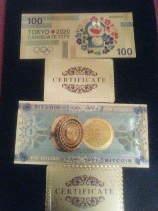 2 Billetes bañados en oro de 24qlt