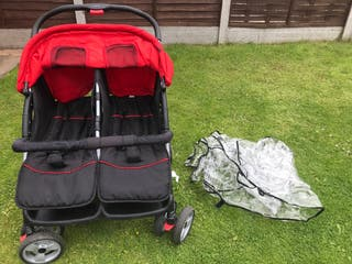 VIDA XL RED DOUBLE PUSHCHAIR WITH RAINCOVER