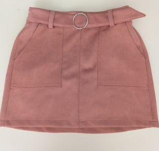 Falda de ante rosa