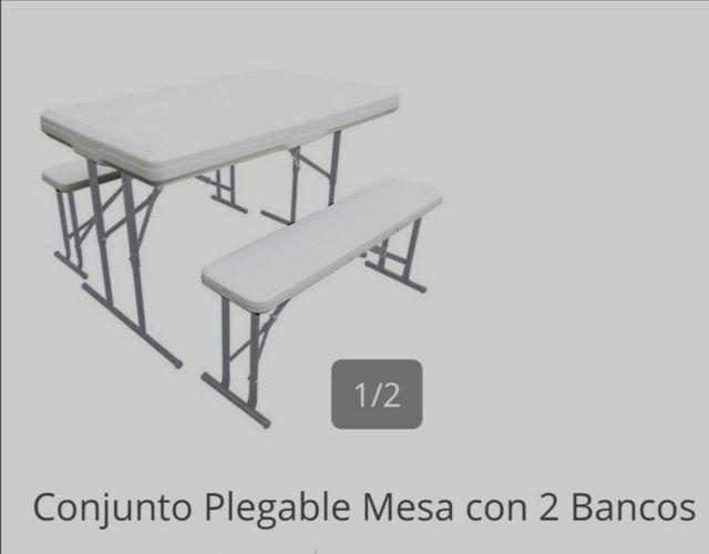 mesa plegable dos bancos HOY 45€