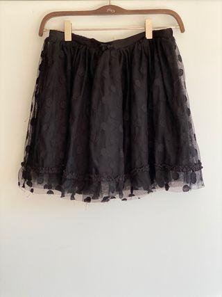 Falda negra con topos niña