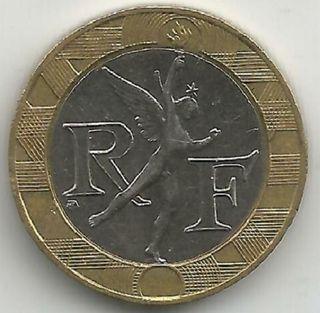 Moneda 10 francos franceses de 1989-1990-1991