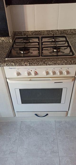 Horno eléctrico y cocina de gas.