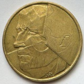 Moneda 5 francos belgas 1986