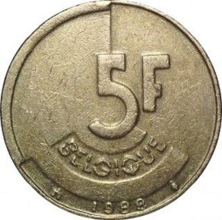 Moneda 5 francos belgas 1988