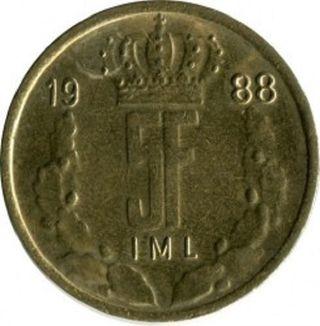 Moneda 5 francos Luxemburgueses 1988