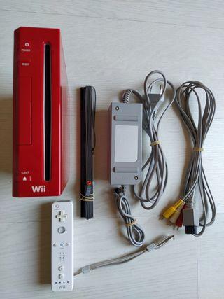 Consola Wii Roja+Mando Original+Cables