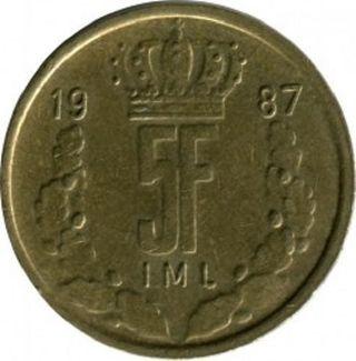 Moneda 5 francos Luxemburgueses 1987