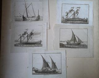 Grabados antiguos de barcos Siglo XVII