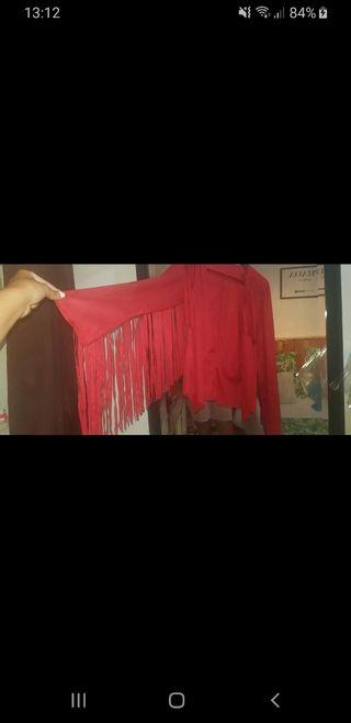 chaqueta flecos roja