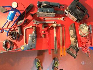 juego de herramientas manuales y eléctricas