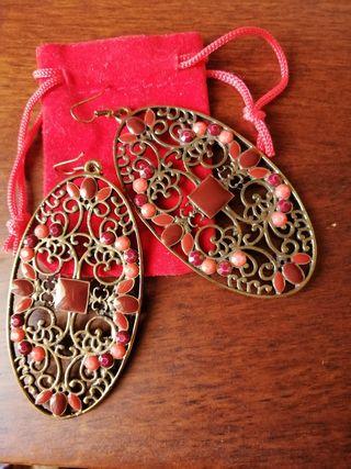 pendientes cobre y piedras preciosas