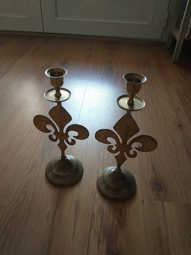 2 candelabros bronce vintage