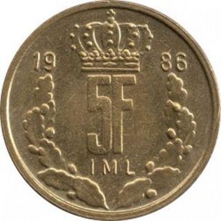 Moneda 5 francos Luxemburgueses 1986