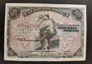 billete clásico 50 pesetas 1906 serie A