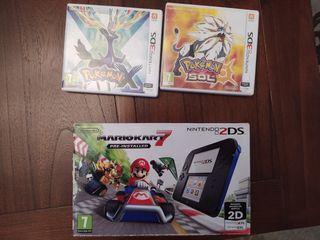 Nintendo 2DS+4 juegos y 2 tarjetas de memoria