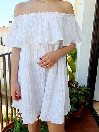 Vestido Blanco Plisado S