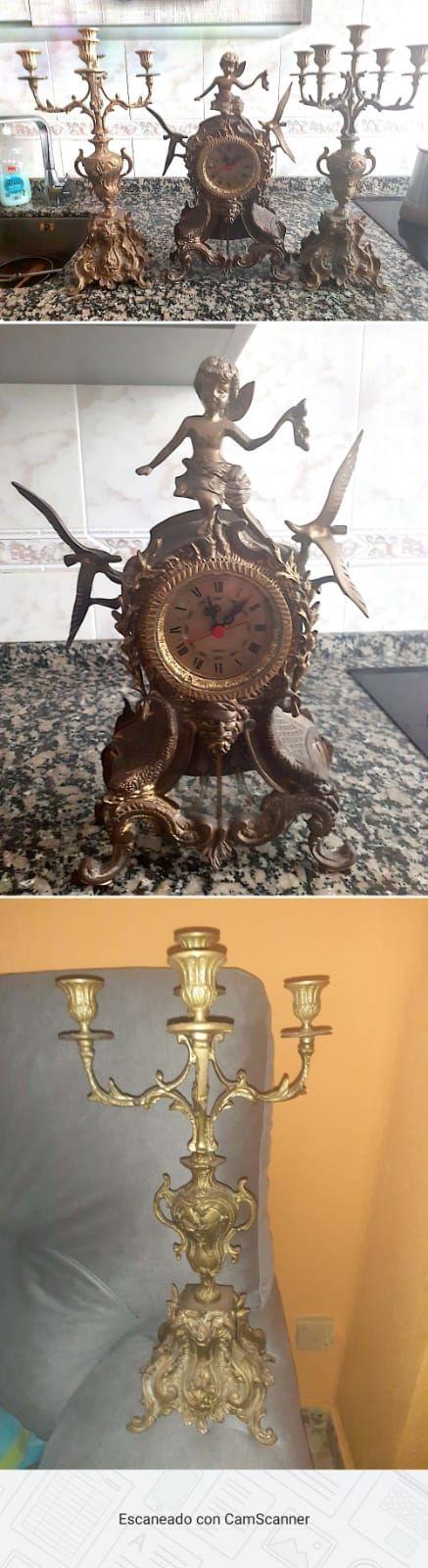 reloj bronce y candelabros precio a negociar