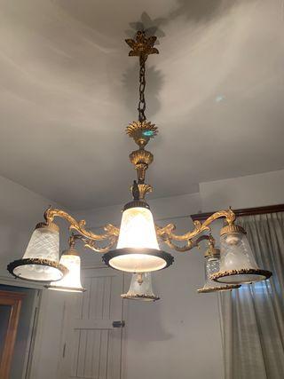 Lámpara bronce años 50