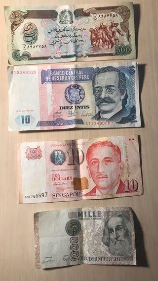 Lote de billetes extranjeros
