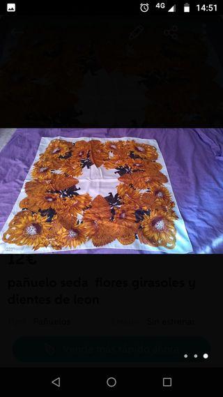 pañuelo de seda vintage con girasoles