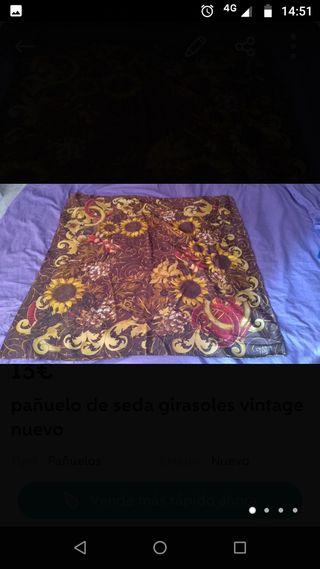 pañuelo vintage de seda girasoles y flores