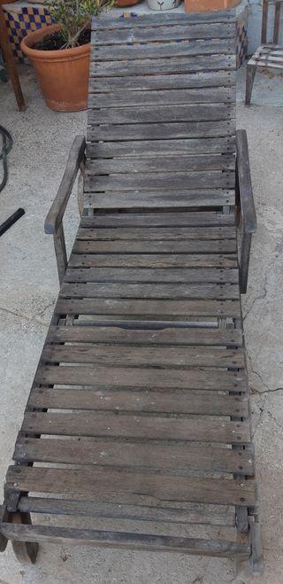 tumbona madera teka