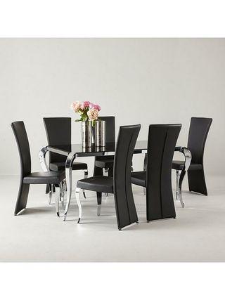 Boutique 163cm Glass Dining Table - Black & Chrome