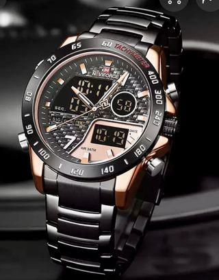Reloj NAVIFORCE novedad negro/oro rosa