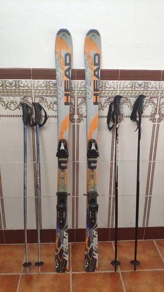 Esquís T.160 y 2 pares de bastones