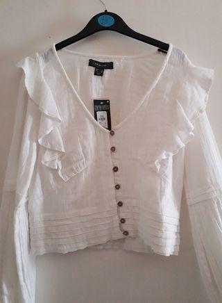 CON ETIQUETA Camisa blanca algodón estilo hippie