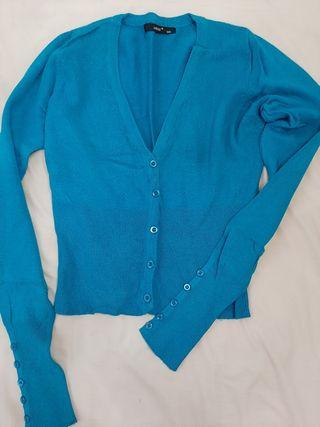 chaqueta corta entallada, color turquesa