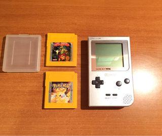 Nintendo Game Boy Pocket gris + 2 juegos