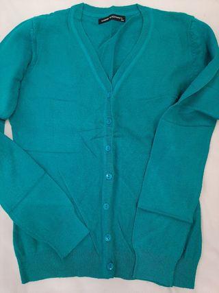 chaqueta azul verdoso entallada