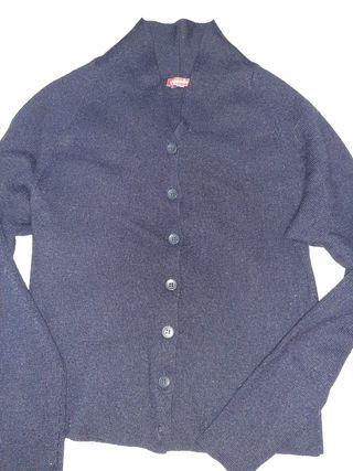 chaqueta azul de abrigo, entallada