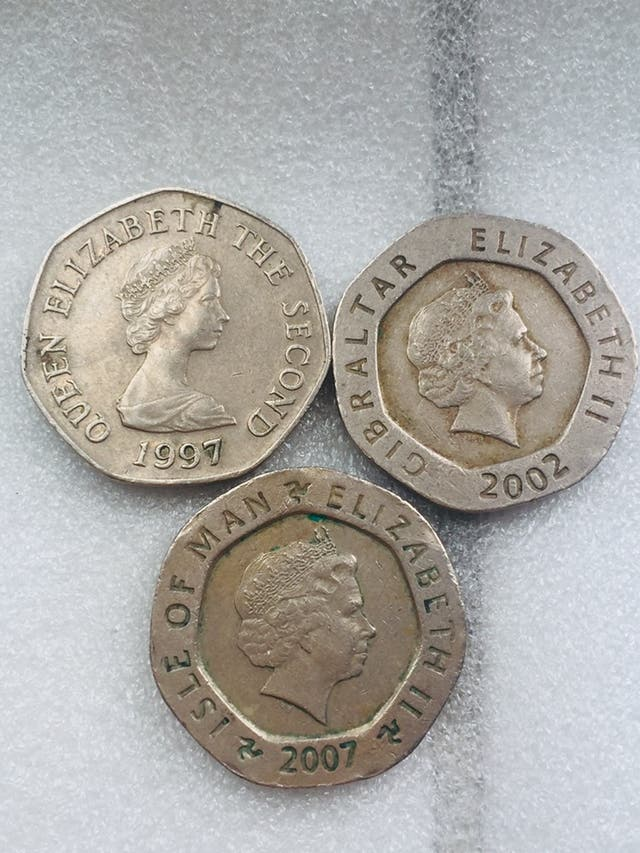 20p coin set of 3 coins .