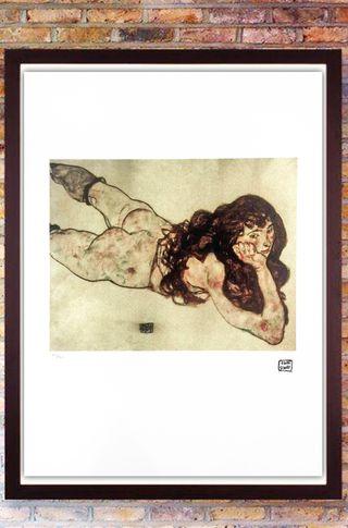 Egon Schiele Litografia cm 50x70 con autentica - e