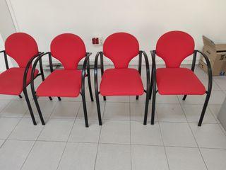 Lote de 4 sillas de oficina color rojo