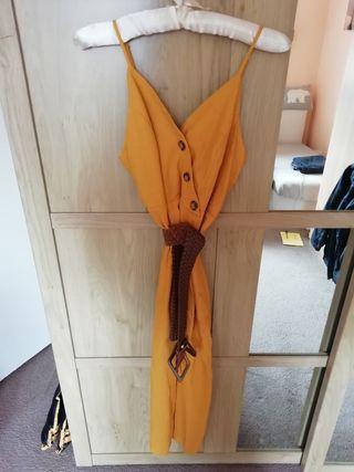 Mustard linen dress