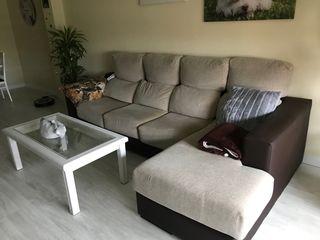Sofá 3 plazas + chaise longue de tela