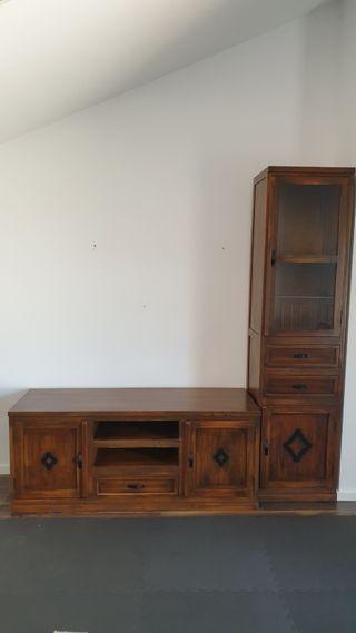 Conjunto de dos muebles de madera maciza