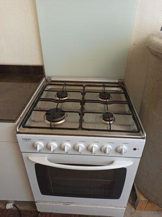 Cocina gas butano+horno electrico60cm ancho