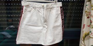 Falda corta vaquera blanca