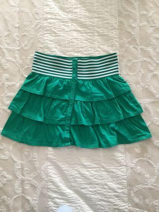 Falda de algodón color verde