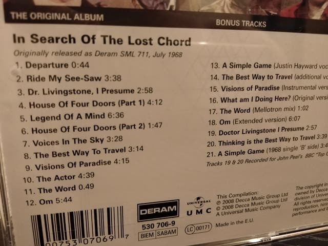 THE MOODY BLUES In Search Of Lost Chord 1968 CD