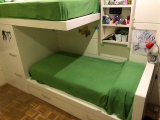 Literas tren, 3 camas, estanterías, armario, cajon