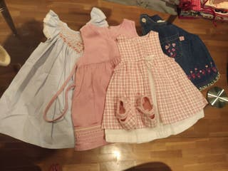 Lote 4 vestidos 0-6 meses