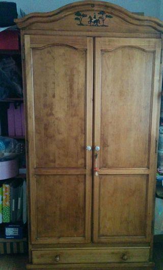 Dormitorio infantil juvenil armario comoda madera